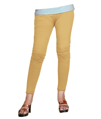 Chikoo Cotton Ankle Length Leggings for Women's and Girl's (Free Size)