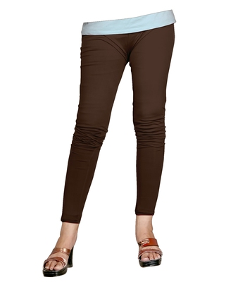 Brown Cotton Ankle Length Leggings for Women's and Girl's (Free Size)