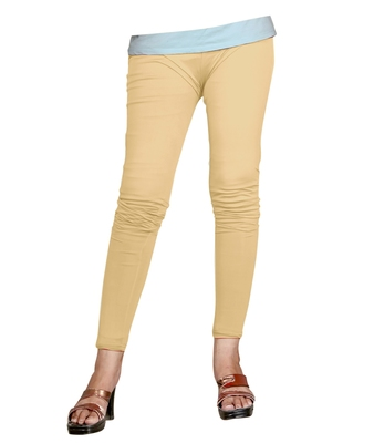 Beige Cotton Ankle Length Leggings for Women's and Girl's (Free Size)