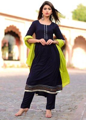 Blue plain rayon kurta and trouser set