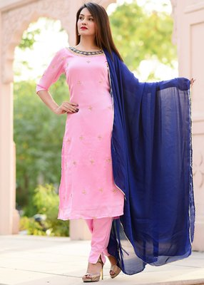 Baby-Pink Embroidered Georgette Kurta With Trouser And Dupatta Set