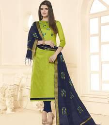 Green embroidered cotton salwar