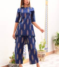 Blue printed cotton kurta with trouser