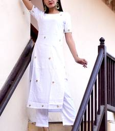 White embroidered crepe kurta with trouser set