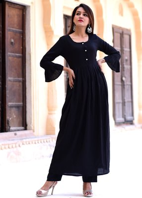 Black plain rayon cotton kurta with trouser