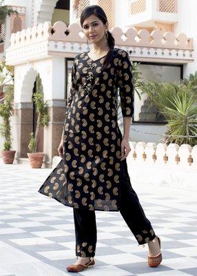 Black Printed Cotton Kurta With Trouser Set