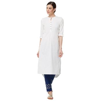 White plain cotton kurti