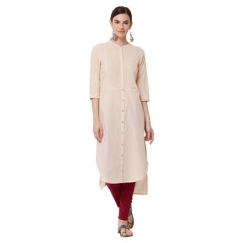 Beige plain cotton kurti