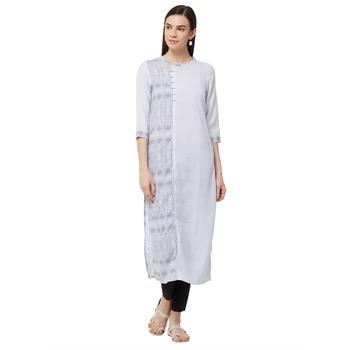 Grey printed polyester kurti