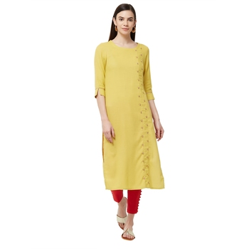 Yellow plain viscose kurti