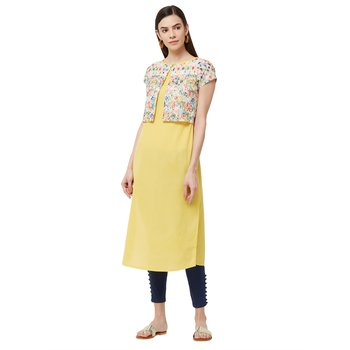 Yellow embroidered cotton kurti