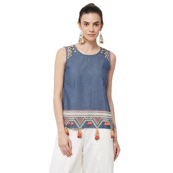 Blue printed denim long tops