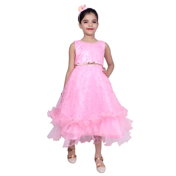 Pink Embroidered Super Net Kids Girl Gowns