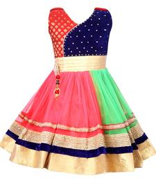 Multicolor embroidered net kids frocks