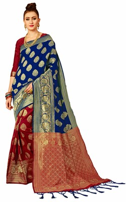 Blue woven art silk sarees saree with blouse