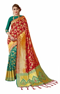 Red woven art silk sarees saree with blouse