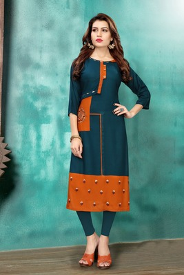 Multicolor embroidered rayon long kurtis