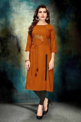 Mustard embroidered rayon long kurtis