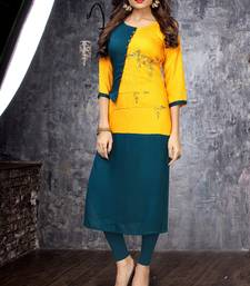 Yellow embroidered rayon long kurtis