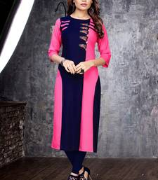 Rani-pink embroidered rayon long kurtis