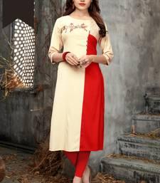 Red embroidered rayon long kurtis