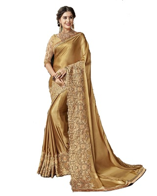02724ddd665f77 Golden embroidered art silk saree with blouse - Geet Fashion Solution -  2842262