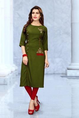 Green embroidered rayon long kurtis
