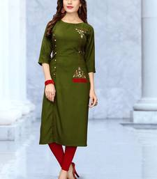 Green embroidered rayon long kurtis