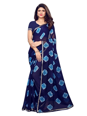 Navy Blue Printed Chiffon Saree With Blouse