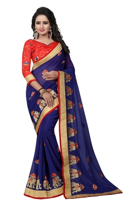 Navy blue embroidered faux chiffon saree with blouse