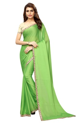 Parrot green plain fancy fabric saree with blouse
