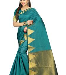 Teal printed cotton saree with blouse