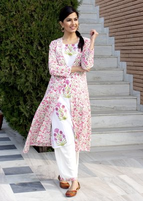 White printed cotton kurtis with pant set