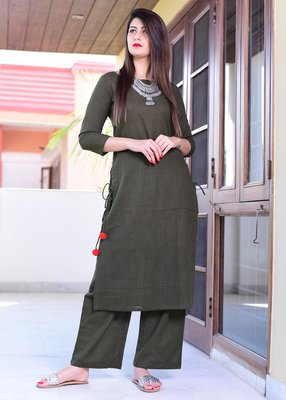 Olive Plain Cotton Kurta And Pant Set