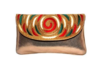 PU & Regzine Made Gold Color Clutch With Hand Zari, Embroidery & Stone Embellishemnt Work