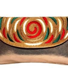 PU & Regzine Made Gold Color Clutch With Hand Zari, Embroidery & Stone Embellishemnt Work