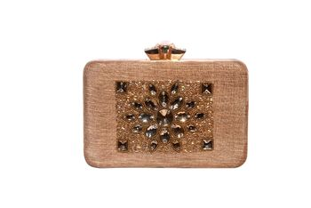 Net Silk Made Black Color Clutch With Stone Embellishemnt Work