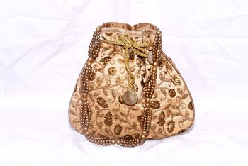 Jute Made Beige Color Clutch With Embroidery Work