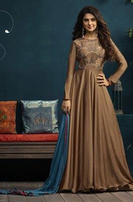 Beige Embroidered Georgette Salwar