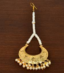 Gold Plated with Off-White pearls Traditional Styled Maang Tikka