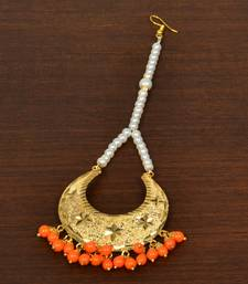 Gold Plated with Orange Beads Traditional Styled Maang Tikka