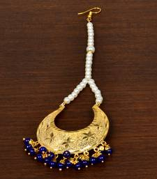 Gold Plated with Blue Beads Traditional Styled Maang Tikka