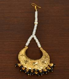Gold Plated with Black Beads Traditional Styled Maang Tikka