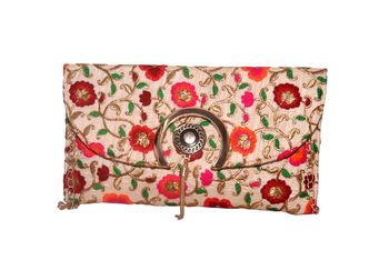 Raw Silk Made Multi Color Clutch With Embroidery Work
