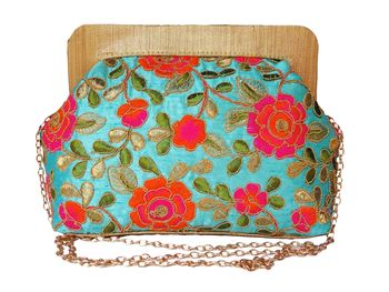 Raw Silk Made Blue Color Clutch With Multi Color Embroidery Work