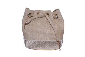 Jute Made Beige Color Clutch With Hand Zari, Embroidery & Stone Embellishemnt Work