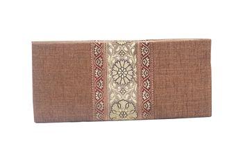 Jute & Banarasi Silk Made Beige Color Clutch With Banarsi Silk Design Fabric