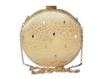 Jute & Net Made Gold Color Clutch With Diamond, Mirrror Work Embellishment