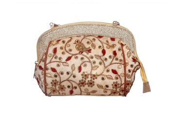 Fibre Border & Silk Made Gold Color Clutch With Embroidery Work