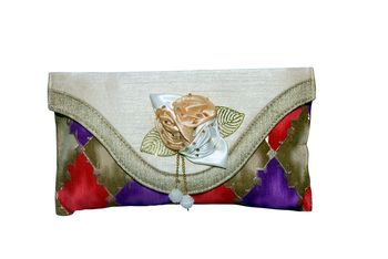 Silk Made Multi Color Clutch With Printed Work